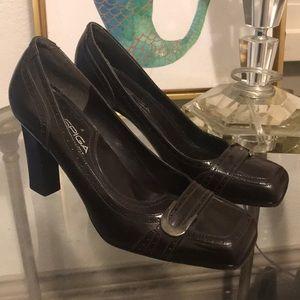 -VIA SPIGA- chocolate brown leather heels